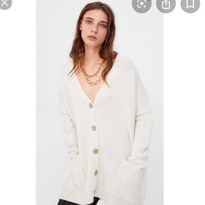 NWT ZARA Ivory Oversized Cardigan SZ S